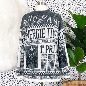 Vintage | Newspaper Dance Print Mock Neck Sweater
